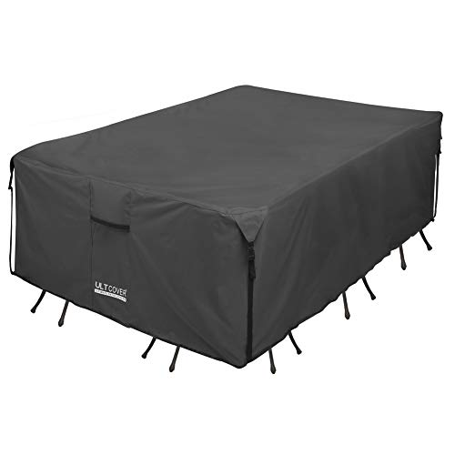 ULTCOVER 600D Tough Canvas Durable Rectangular Patio Table and Chair Cover - Waterproof Outdoor General Purpose Furniture Covers 88Lx62Wx28H inch, Black