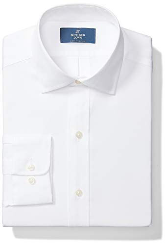 Amazon Brand - Buttoned Down Men's Classic-Fit Spread Collar Solid Non-Iron Dress Shirt , White, 16.5' Neck 32' Sleeve