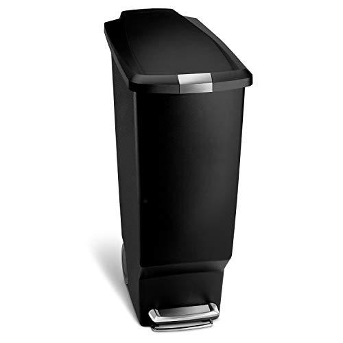 simplehuman 40 Liter / 10.6 Gallon Slim Kitchen Step Trash Can, Black Plastic Bin With Secure Slide Lock