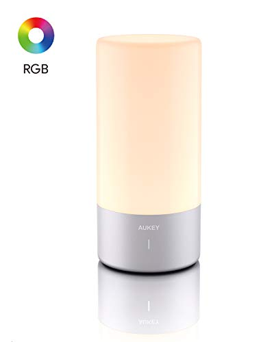 AUKEY Table Lamp Touch Sensor Bedside Lamp Color Changing RGB & Dimmable Warm White Light Night Light for or Bedrooms, Living Rooms and Office2020 Updated Version