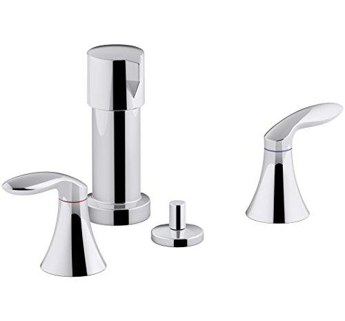 KOHLER K-15286-4RA-CP Coralais Vertical Spray Bidet Faucet with Lever Handles, Polished Chrome
