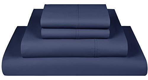 600-Thread-Count Best 100% Cotton Sheets & Pillowcases Set - 4 Piece Extra-Long Staple Cotton Sateen King Size Sheets - Luxury Bedding with Deep Pocket Folkstone Blue