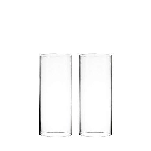 CYS EXCEL Various Size Hurricane Candleholders, Chimney Tube, Glass Cylinder Open Both Ends, Open Ended Hurricane, Candle Shade, Glass Shade Candleholders Set of 2 (4' Wide x 9.5' Tall)