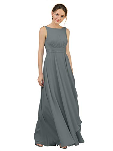 Alicepub Boat Neck Bridesmaid Dresses Chiffon Long Maxi Formal Gown for Women Party Evening, Steel Grey, US12