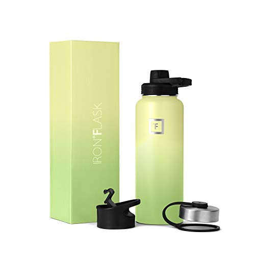 IRON °FLASK Sports Water Bottle - 40oz, 3 Lids (Spout Lid), Vacuum Insulated Stainless Steel, Hot Cold, Modern Double Walled, Simple Thermo Mug, Hydro Metal Canteen