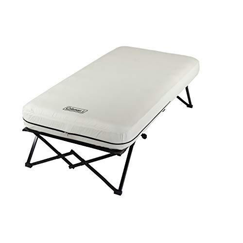 Coleman Twin Airbed Folding Cot with Side Table and 4D Battery Pump