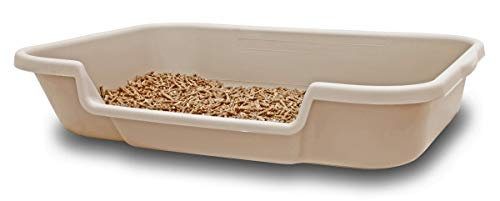 Kitty Go Here Senior Cat Litter Box 24' x 20' x 5'. Sand Color. Opening is 12' Wide and 3' from The Floor. Made in The USA are Available Under PuppyGoHere.