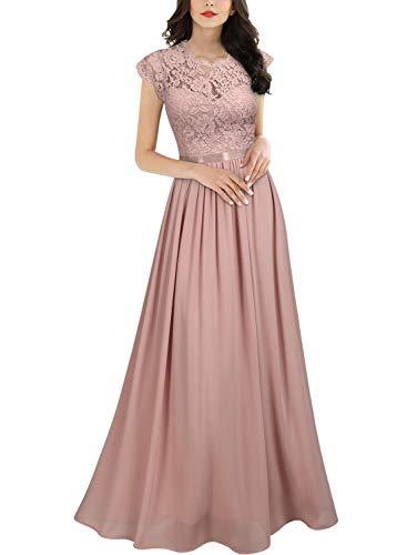 Miusol Women's Formal Floral Lace Evening Party Maxi Dress (Medium, Pink)