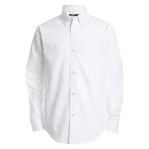 Izod boys Long Sleeve Solid Button-Down Oxford Shirt, White, 14R