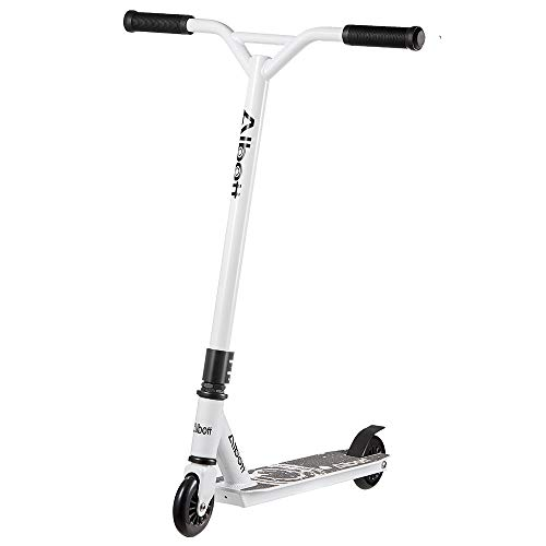 Albott Pro Scooters Stunt Scooter - Complete Trick Scooters Beginner Freestyle Sports Kick Scooter with Fixed Bar Scooter for 8 Years and Up,Teens,Adults (White)