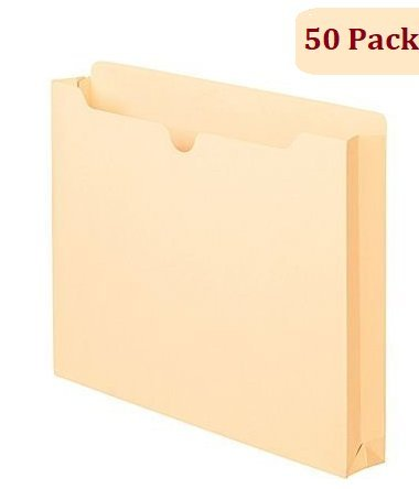 1InTheOffice Manila Expanding File Jacket, 1', Letter,'50 Pack' (1 Inch)