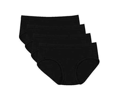 Hanes Ultimate Women's 4-Pack Cotton Stretch Cool Comfort Hipster Panties, Black, 7