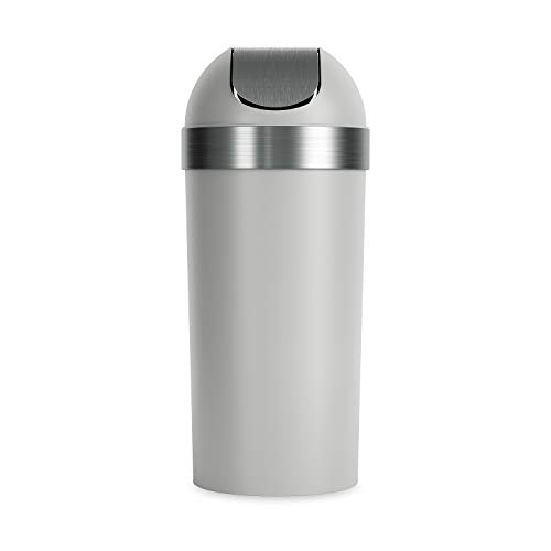 Umbra Venti Swing-Top 16.5-Gallon Kitchen Trash Lid Large, 35-inch Tall Garbage Can for Indoor, Outdoor or Commercial Use, Grey