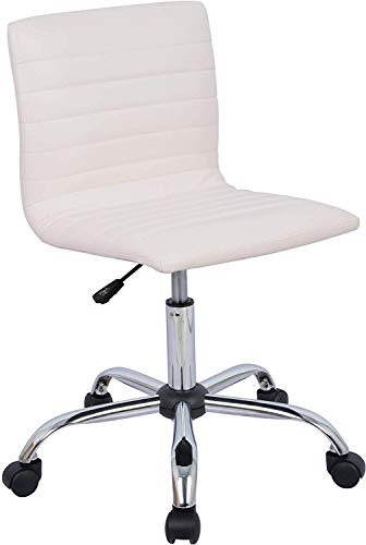Home Office Chair, Computer Chair Adjustable Height Ribbed Low Back Armless Swivel Conference Room Task Desk Chairs, White