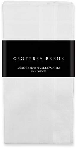 Geoffrey Beene 13 Pack Men's Fine Handkerchiefs 100% Cotton White