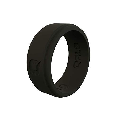 QALO Men's Black Step Edge Q2X Silicone Ring Size 10