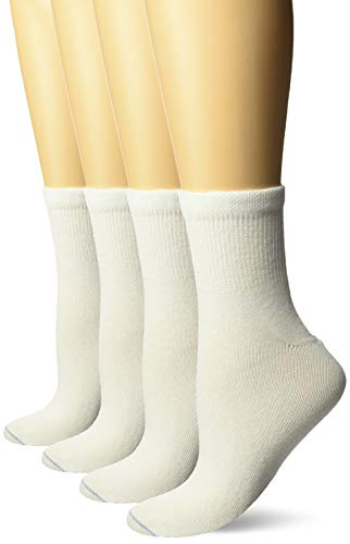 Dr. Scholl's Women's 4 Pack Diabetic and Circulatory Non Binding Ankle Socks, White, Shoe Size: 8-12