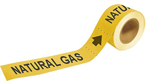 Brady 20449 Economy Pipe Markers-To-Go, B-736, 1' Height X 8' Width, Black On Yellow Self-Sticking - Plastic Film, Legend 'Natural Gas'