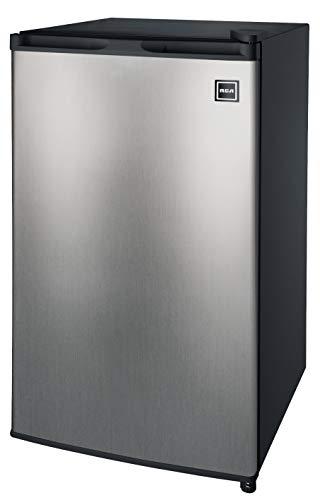 RCA RFR322-B 3.2 Cu Ft Single Door Mini Fridge with Freezer RFR322, Platinum, Stainless Steel
