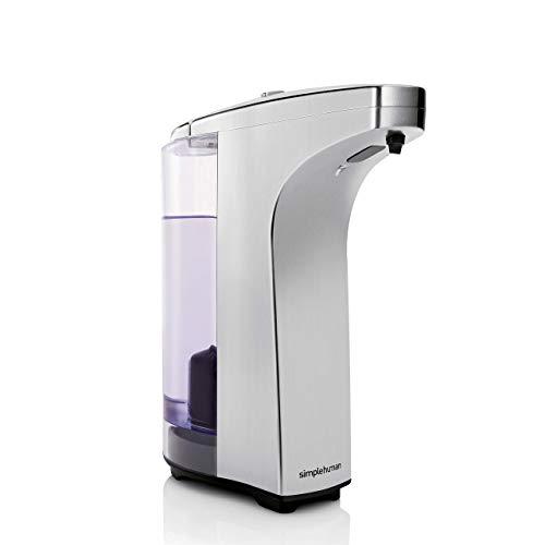 simplehuman 8 oz. Touch-Free Sensor Liquid Soap Pump Dispenser with Soap Sample, Brushed Nickel