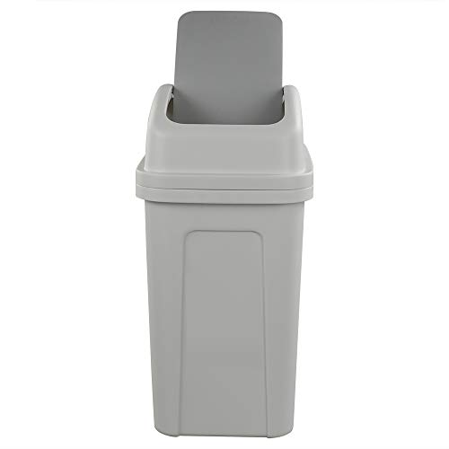 Nicesh 2.6 Gallon Swing Top Trash Can, 10 L Plastic Garbage Can with Swing Lid (Grey)