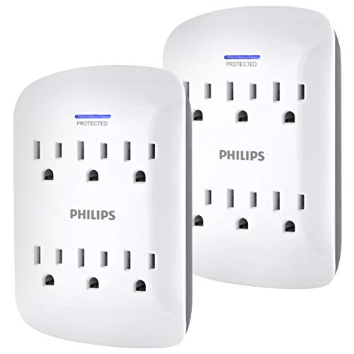 Philips, White, 6-Outlet Surge Protector Tap, 2 Pack, 900 Joules, 3-Prong, Space Saving Design, Protection Indicator LED Light, SPP3466WA/37