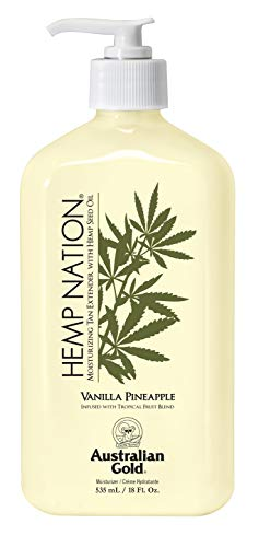 Australian Gold Vanilla Pineapple Hemp Nation Moisturizing Tan Extender Lotion, 18 Ounce | Hemp Seed Oil