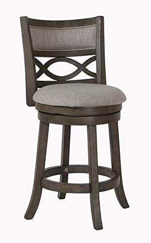 New Classic Furniture New Classic Manchester Swivel Counter Stool, Antique Grey, 24-Inch