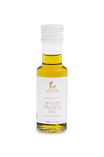 TruffleHunter White Truffle Oil (Tuber Borchii) Real Truffle Pieces Cold Pressed Extra Virgin Olive Oil (3.38 Oz) Gourmet Food Seasoning Marinade Salad Dressing - Vegan Kosher Vegetarian & Gluten Free