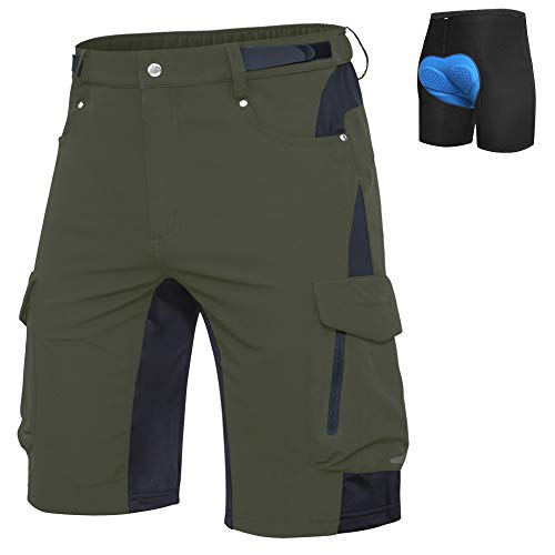 Ally Mens Mountain Bike Shorts MTB Shorts Bicycle Baggy Cycling Bike Shorts Cycle Wear Relaxed Loose-fit (Green, L (Waist: 32-34' Hip: 36.5-38.5'))