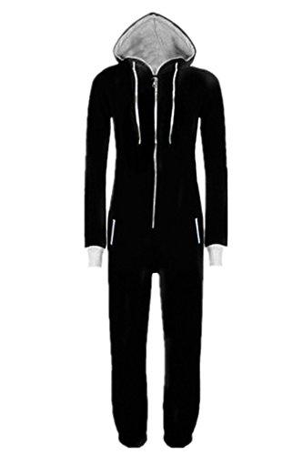 WOTOGOLD Men And Women Black Blue Pajamas Sportswear Hooded Unisex Jumpsuit Black,Small