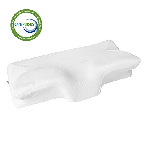 MARNUR Cervical Pillow Contour Memory Foam Orthopedic Pillow for Neck Pain Sleeping for Side Sleeper Back Sleeper Stomach Sleeper+White Pillowcase(1 PCS)