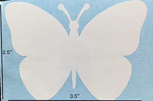 Retractable Screen Door Decals (Stickers) - 5 per Package - Keep Children Safe - Alert Birds, Dogs, Kids - Warn, Protect, Window Safety - Butterfly (White)