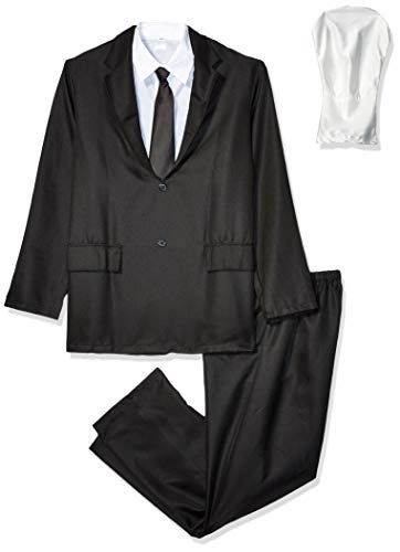 Morphsuits Men's Slenderman Costume Adult, Black and White, Small (5'10' or under)
