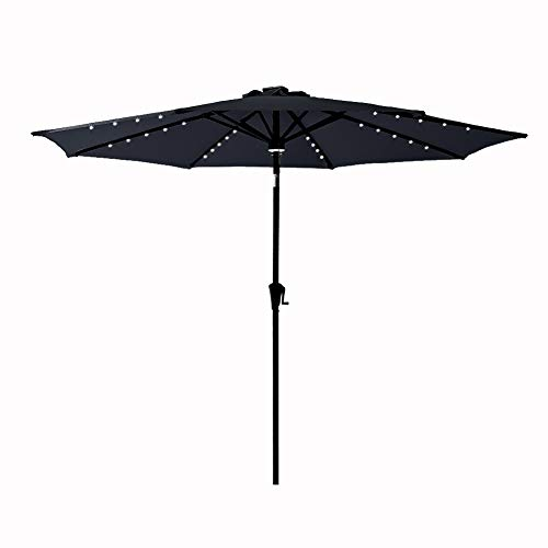 C-Hopetree 11 ft Outdoor Patio Market Umbrella with Solar LED Lights and Tilt - Black