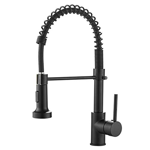 OWOFAN Kitchen Faucets Commercial Solid Brass Single Handle Single Lever Pull Down Sprayer Spring Kitchen Sink Faucet, Matte Black 9009R