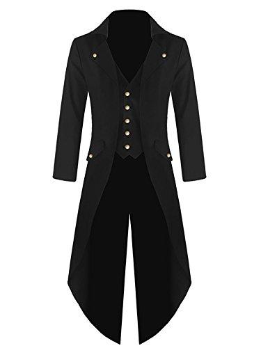 Mens Steampunk Victorian Jacket Gothic Tailcoat Costume Vintage Tuxedo Viking Renaissance Pirate Halloween Coats (Small, Black)