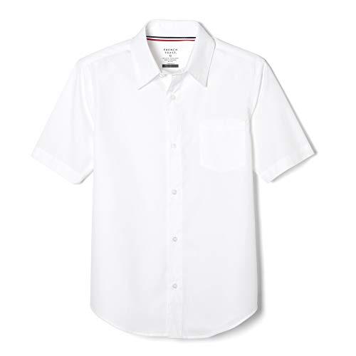 French Toast Little Boys' Short Sleeve Poplin Dress Shirt, White, 5