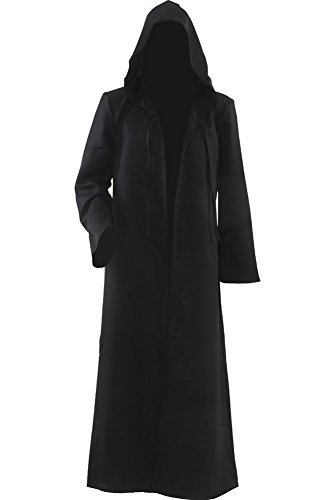 Cosplaysky Men's Cloak for Jedi Robe Costume Halloween Tunic Hooded Uniform (Black, Large)
