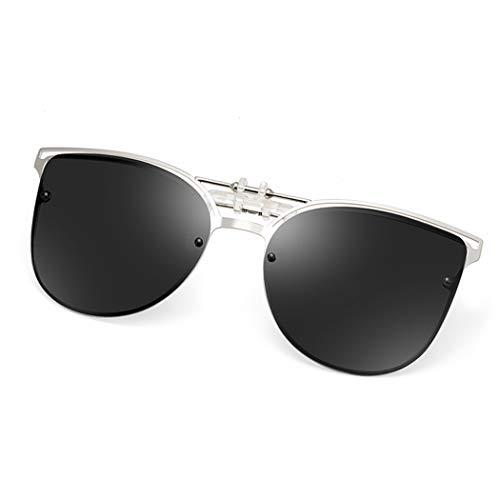 Polarized Clip-on Sunglasses Anti-Glare UV 400 Protection Cateye Sun Glasses Clip On Prescription Glasses (Cateye-Black)