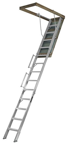 Louisville Ladder 22.5-Inch by 63-Inch Aluminum Attic Ladder, Fits 10' to 12' Ceiling Height, 350-Pound Capacity, AL228P
