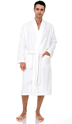 TowelSelections Men's Robe, Turkish Cotton Terry Kimono Bathrobe X-Large/XX-Large White