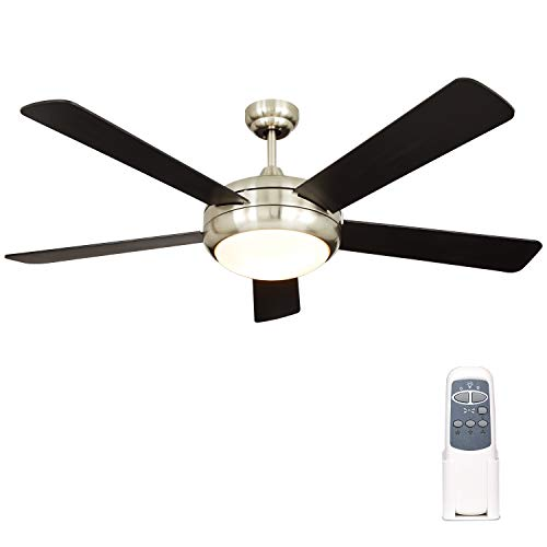 Hykolity 52 Inch Indoor Brushed Nickel Ceiling Fan with Dimmable Light Kit and Remote Control, Modern Style, Lifetime Motor Warranty, Reversible Blades, ETL for Living room, Bedroom, Basement, Kitchen