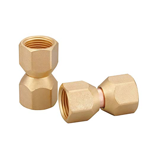 Minimprover 2 PCS Brass 1/2' Female Flare by 1/2' Female Flare Swivel Brass Adapter,Female Swivel Nut,Flare Tube Fitting,Valve Connector