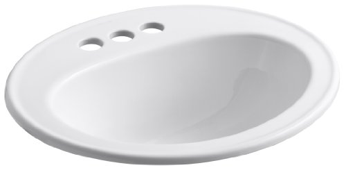 KOHLER K-2196-4-0 Pennington Self-Rimming Bathroom Sink, White