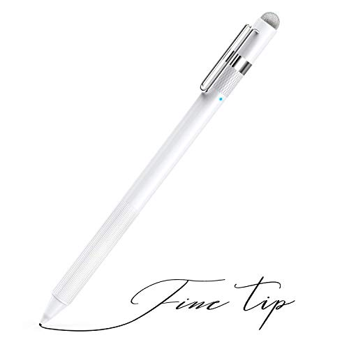 MEKO 1.6mm Fine Tip Active Digital Stylus Pen with Universal Fiber Tip 2-in-1 for Drawing and Handwriting Compatible with Apple Pen iPad iPhone and Andriod Touchscreen Cellphones, Tablets-White