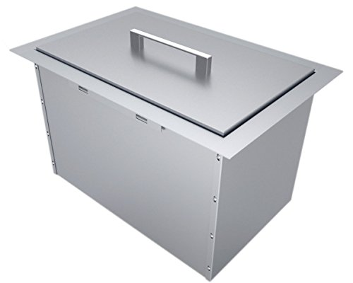 SUNSTONE B-IC14 Over/Under Height Single Basin Insulated Wall Ice Chest with Cover, 14' x 12', Stainless Steel