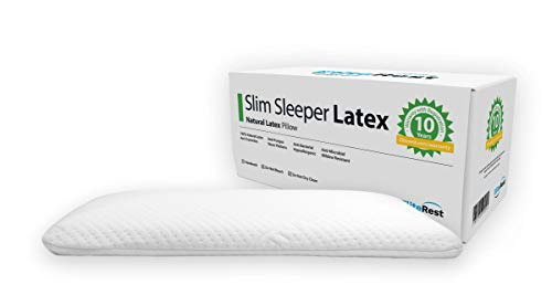 Elite Rest Slim Sleeper - Thin Natural Latex Foam Pillow, Premium Cotton Cover, Great for Back and Stomach Sleepers, Hypoallergenic, Ventilated - Thin Low Profile, 2.75 Inches