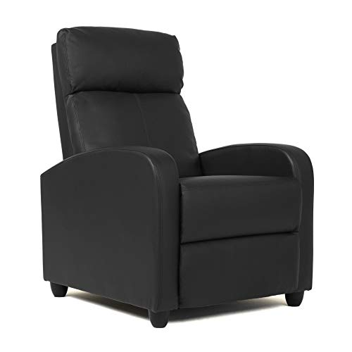 Wingback Recliner Chair Leather Single Modern Sofa Home Theater Seating for Living Room (Black)