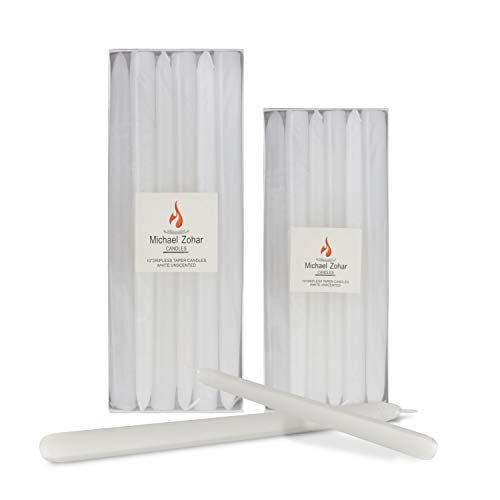 Michael Zohar Candles - 12 Pack Unscented, Hand Dipped Taper Candle - Dripless Clean Burn - 8 Hour Burn Time - Ideal for Weddings, Dinners, Restaurants, Florists and Decor (White, 10 Inch)